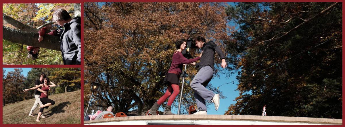 Collage Tanzendes Paar auf Biergartenmauer und Hang am Gögerl. Sowie einer Frau, die auf einem Ast am Baum liegt und nach unten schaut. Daneben steht ein Mann