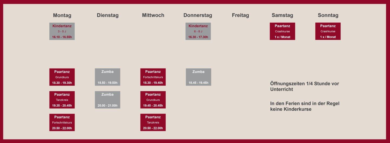 Stundenplan Tanzschule Tanz-Magie von Montag bis Sonntag